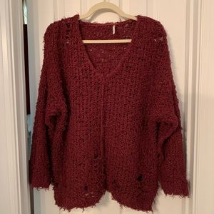 Free people up the ladder destroyed sweater